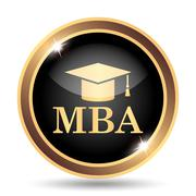 MBA icon. Internet button on white background.. Stock Illustration