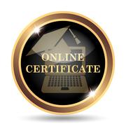 Online certificate icon. Internet button on white background.. - stock illustration
