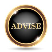 Advise icon. Internet button on white background.. Stock Illustration