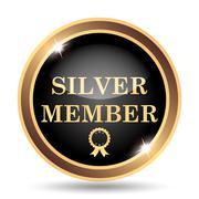Silver member icon. Internet button on white background.. - stock illustration