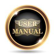 User manual icon. Internet button on white background.. - stock illustration