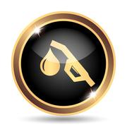Gasoline pump nozzle icon. Internet button on white background.. - stock illustration