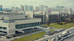 View of the city traffic around MGIMO University Stock Footage