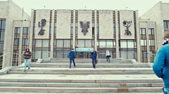 Students enter and leave the MGIMO University building. Stock Footage