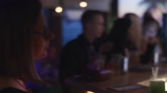 People cheering at bar stand on party in nightclub. Dance. Holidays. Drinks Stock Footage