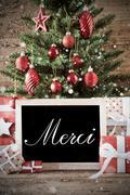 Nostalgic Christmas Tree With Merci Means Thank You Kuvituskuvat