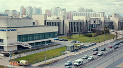 City traffic near MGIMO University. Aerial view. Stock Footage
