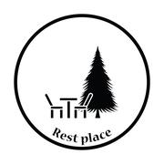 Park seat and pine tree icon - stock illustration