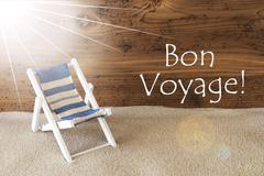 Summer Sunny Greeting Card, Bon Voyage Means Good Trip Stock Photos