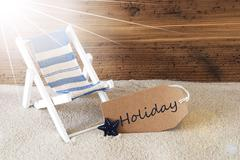 Summer Sunny Label And Text Holiday - stock photo
