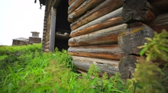 Old abandoned house and church. Stock Footage