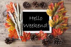 Chalkboard With Autumn Decoration, Hello Weekend - stock photo