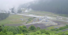 Aerial Wairakei geothermal power station, taupo, New Zealand Stock Footage
