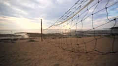 A closeup of volleyball court divider net. - stock footage