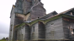 Exterior of old wooden church. Stock Footage
