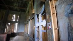 Old ruined iconostasis in church. Stock Footage