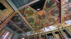 The ceiling in old church that is made of icons. Stock Footage