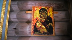 Damaged Icon of the Mother of God. Stock Footage