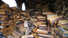 Large stack of cutted firewoods. Stock Footage