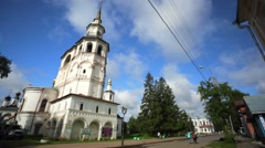 Old russian church and residence of Ded Moroz in russian town. - stock footage