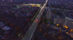 Drone following firetruck with lights in city while making turn Arkistovideo