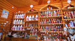 Small giftshop in russian town. - stock footage