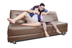Man prevent his children watching movies - stock photo