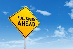 Signboard with text of Full Speed Ahead - stock photo