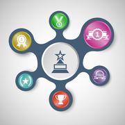 Award infographic templates with connected metaballs Stock Illustration