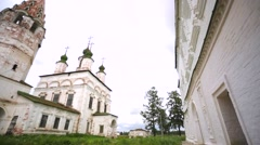 Two old churches in russian town. Stock Footage