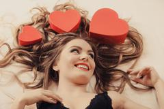Portrait of happy woman. Valentines day love. - stock photo
