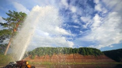 5 meters height geyser near Suhona river in Russia. Stock Footage