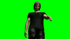 Zombie walking low angle green screen - stock footage