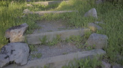 Climing staircase in canadian outdoor Stock Footage