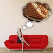 Woman Craving Grilled Sandwich - stock illustration