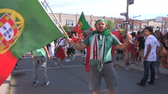 Soccer fans in the streets of Toronto celebrate Portugal world euro cup Stock Footage