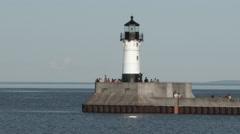 Lake Superior Lighthouse Stock Footage