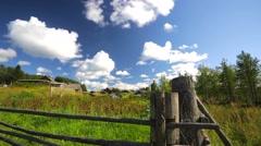 Rural scene. Wooden palisade. Stock Footage