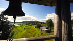 View from the bell tower in russian National park Kenozero. - stock footage