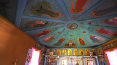 The ceiling in old church made of icons Stock Footage