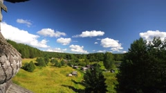 View from the bell tower and dome of the wooden church - stock footage