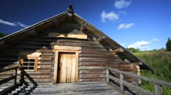 Exterior of restored wooden flour-mill Stock Footage
