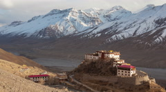Key Gompa Evening Light Stock Footage