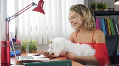 Business Woman Playing With Pet Dog In Office Stock Footage