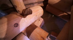Hewn logs and wooden corners. Stock Footage