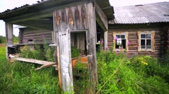 Gate and staircase in old abandoned wooden house. Stock Footage