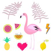Summer pink flamingo clipart icon set. Vector illustration Stock Illustration