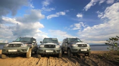 Three impressive russian jeeps UAZ Patriot. - stock footage