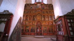 Beautiful, impressive and ancient iconostasis. Stock Footage