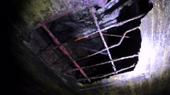 A hole in ceiling in caves of finnish fortified region Stock Footage